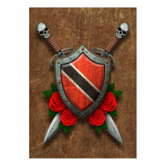 Aged Trinidad and Tobago Flag Shield and Swords Large Business Cards (Pack Of 100)