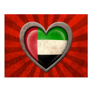 Aged United Arab Emirates Flag Heart with Light Ra Postcard