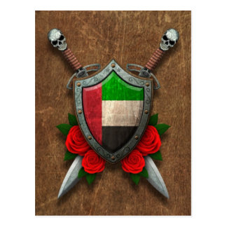 Aged United Arab Emirates Flag Shield and Swords Postcard