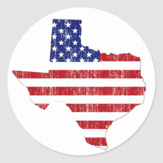 AGED US FLAG TEXAS ROUND STICKERS