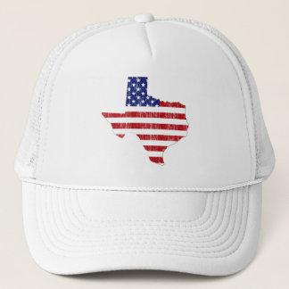 AGED US FLAG TEXAS TRUCKER HAT