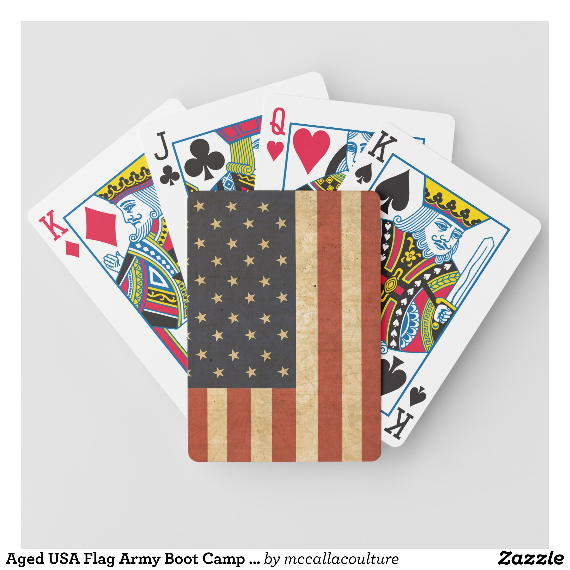 Aged USA Flag Army Boot Camp Soldier Bicycle Playing Cards