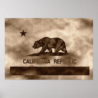 Aged Vintage California Flag Poster