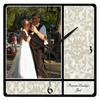 Aged Vintage Damask Pattern Wedding Photograph Square Wallclocks
