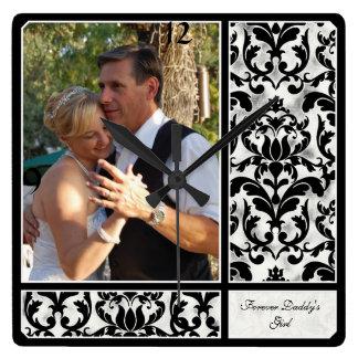 Aged Vintage Damask Pattern Wedding Photograph Square Wallclock