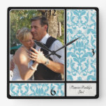 Aged Vintage Damask Pattern Wedding Photograph Square Wall Clock at Zazzle