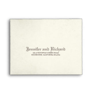 Aged Vintage Gothic Wedding RSVP Envelope