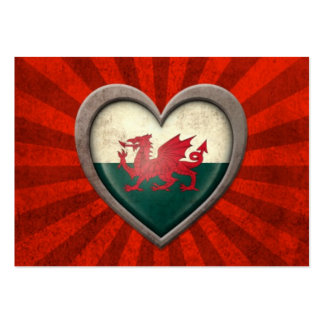 Aged Welsh Flag Heart with Light Rays Business Card Templates