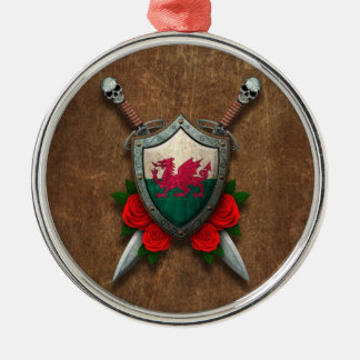 Aged Welsh Flag Shield and Swords with Roses Round Metal Christmas Ornament