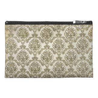 Aged White Damask Print Travel Accessory Bag
