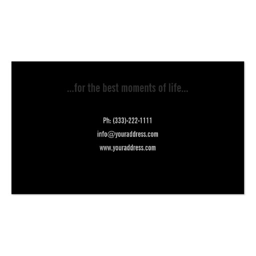 Aged White Photo Film Photographer Black Card Business Cards (back side)