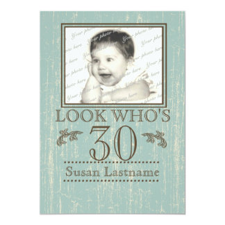 Aged Wood 30th Birthday Photo Card