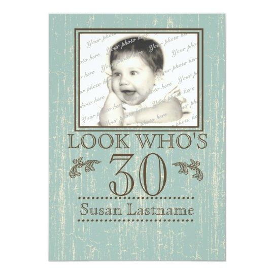 Aged Wood 30th Birthday Photo Card