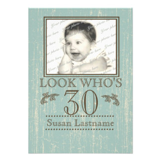 Aged Wood 30th Birthday Photo Personalized Invite
