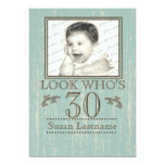 Aged Wood 30th Birthday Photo 5x7 Paper Invitation Card
