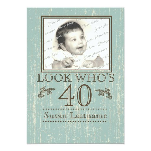 Aged Wood 40th Birthday Photo Custom Announcements