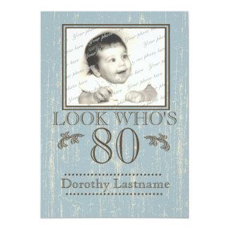 Aged Wood 80th Birthday Photo Blue Card