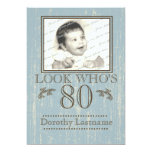 Aged Wood 80th Birthday Photo Blue Personalized Announcement