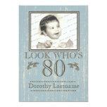 Aged Wood 80th Birthday Photo Blue 5x7 Paper Invitation Card