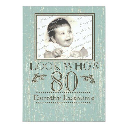 Aged Wood 80th Birthday Photo 5x7 Paper Invitation Card