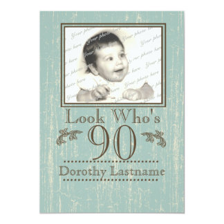 Aged Wood 90th Birthday Photo Card