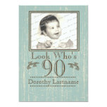 Aged Wood 90th Birthday Photo Personalized Announcements