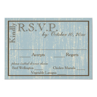 Aged Wood Blue RSVP Card