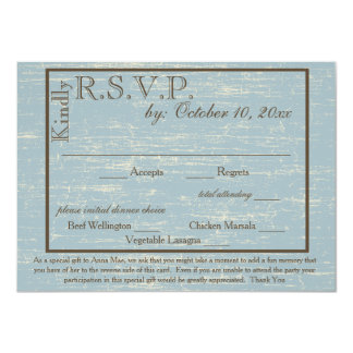 Aged Wood Blue RSVP with Memory Request Card