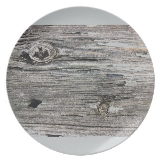 Aged wood fence posting from rustic bush setting dinner plate