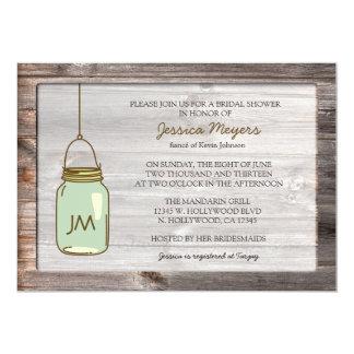 Aged Wood with Mason Jar Bridal Shower Card