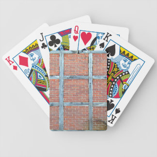 Aged Wooden Door in Red Brick Wall Bicycle Playing Cards