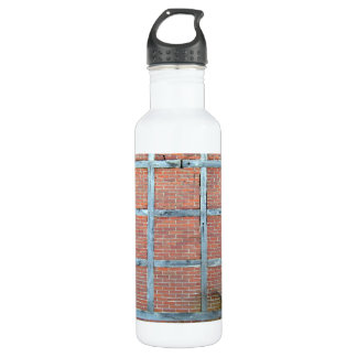 Aged Wooden Door in Red Brick Wall Stainless Steel Water Bottle