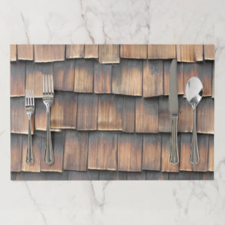 Aged Wooden Shingles Abstract Photography for Him Paper Placemat