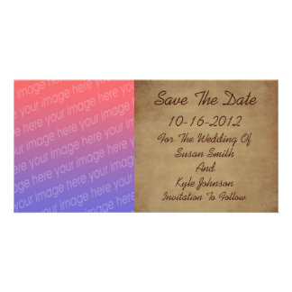 Aged Worn Paper Photo Wedding Save The Date Photo Card Template