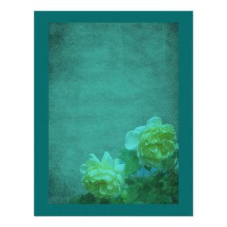 Aged Yellow Roses Aqua Blue Floral Scrapbook Paper Letterhead