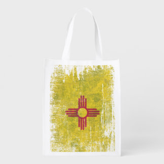 Ageing of the New Mexico flag Grocery Bag