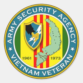 Agencia de seguridad del ejército - veterano de pegatina redonda