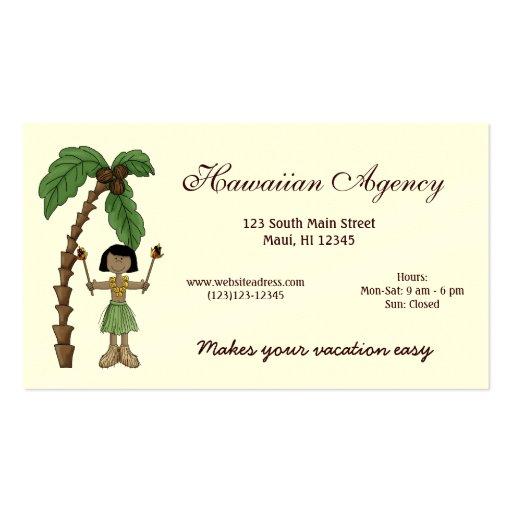 Agencia hawaiana tarjetas de visita