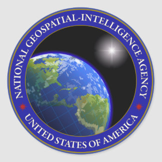 Agencia nacional de la Geospatial-Inteligencia Pegatina Redonda