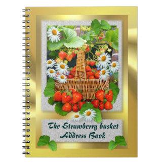 Agenda del ~ de la cesta de la fresa libro de apuntes con espiral