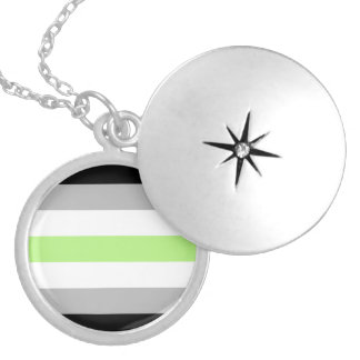 Agender Pride Flag Locket Necklace