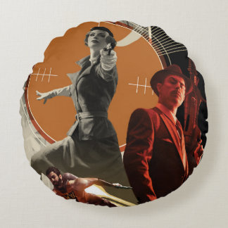 Agent Carter And Howard Stark Collage Round Pillow