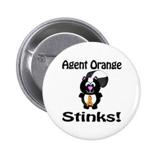 Agent Orange Stinks Skunk Awareness Design Pinback Buttons