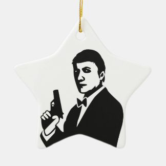 Agent Double-Sided Star Ceramic Christmas Ornament