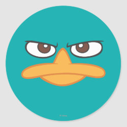 Round Sticker with Agent P of Phineas and Ferb Face design