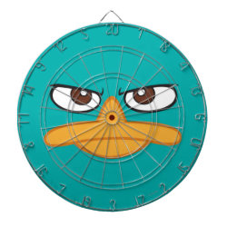 Megal Cage Dart Board with Agent P of Phineas and Ferb Face design