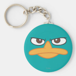 Basic Button Keychain with Agent P of Phineas and Ferb Face design