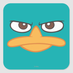Square Sticker with Agent P of Phineas and Ferb Face design