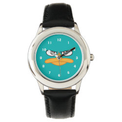 Kid's Stainless Steel Black Leather Strap Watch with Agent P of Phineas and Ferb Face design