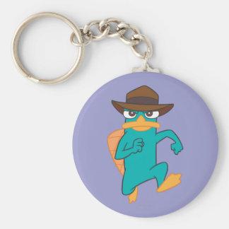 Agent P Running Basic Round Button Keychain
